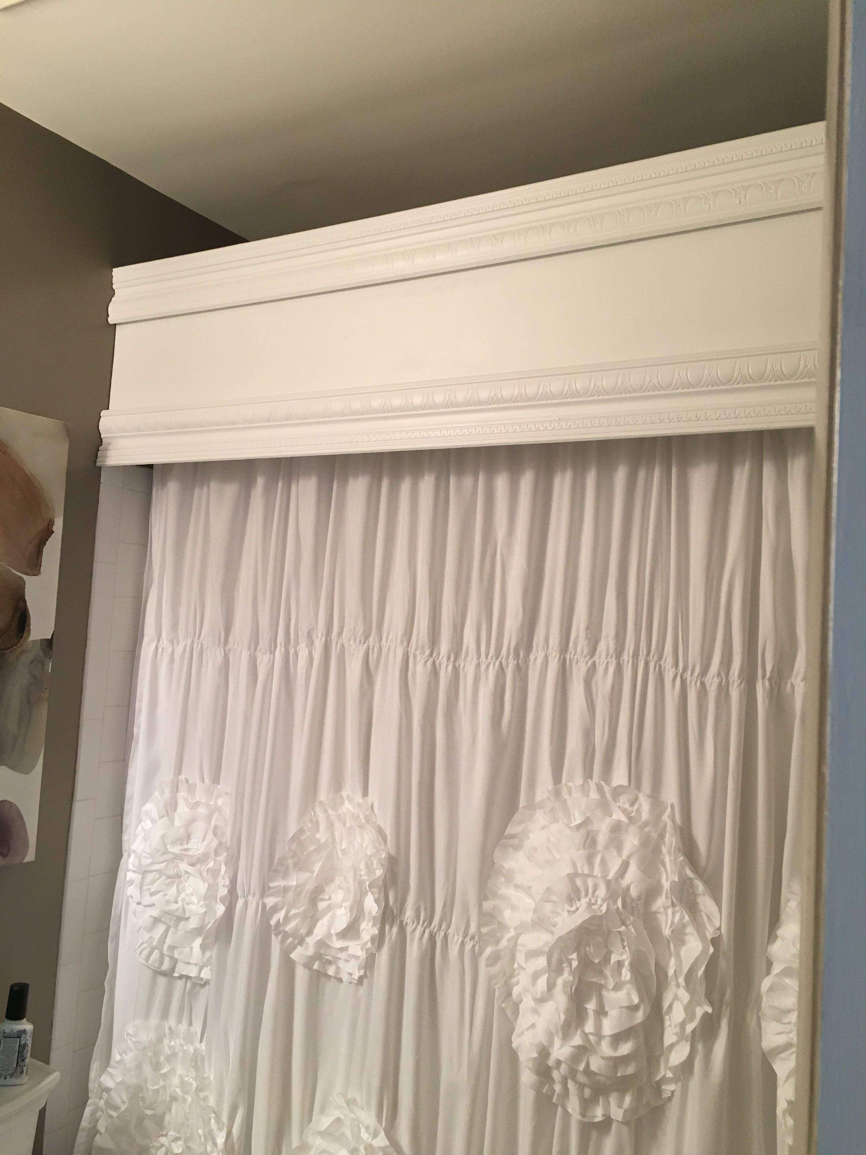 wood cornice to cover shower rod wood