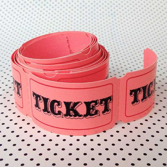 25 Pink Carnival Tickets Paper Ticket Circus Party Game Scrapbook - blank ticket