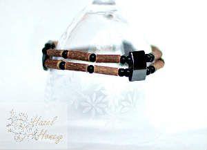 Double Hazelwood and Hematite Bracelet - Men #hazelandhoney www.facebook.com/HazelandHoney