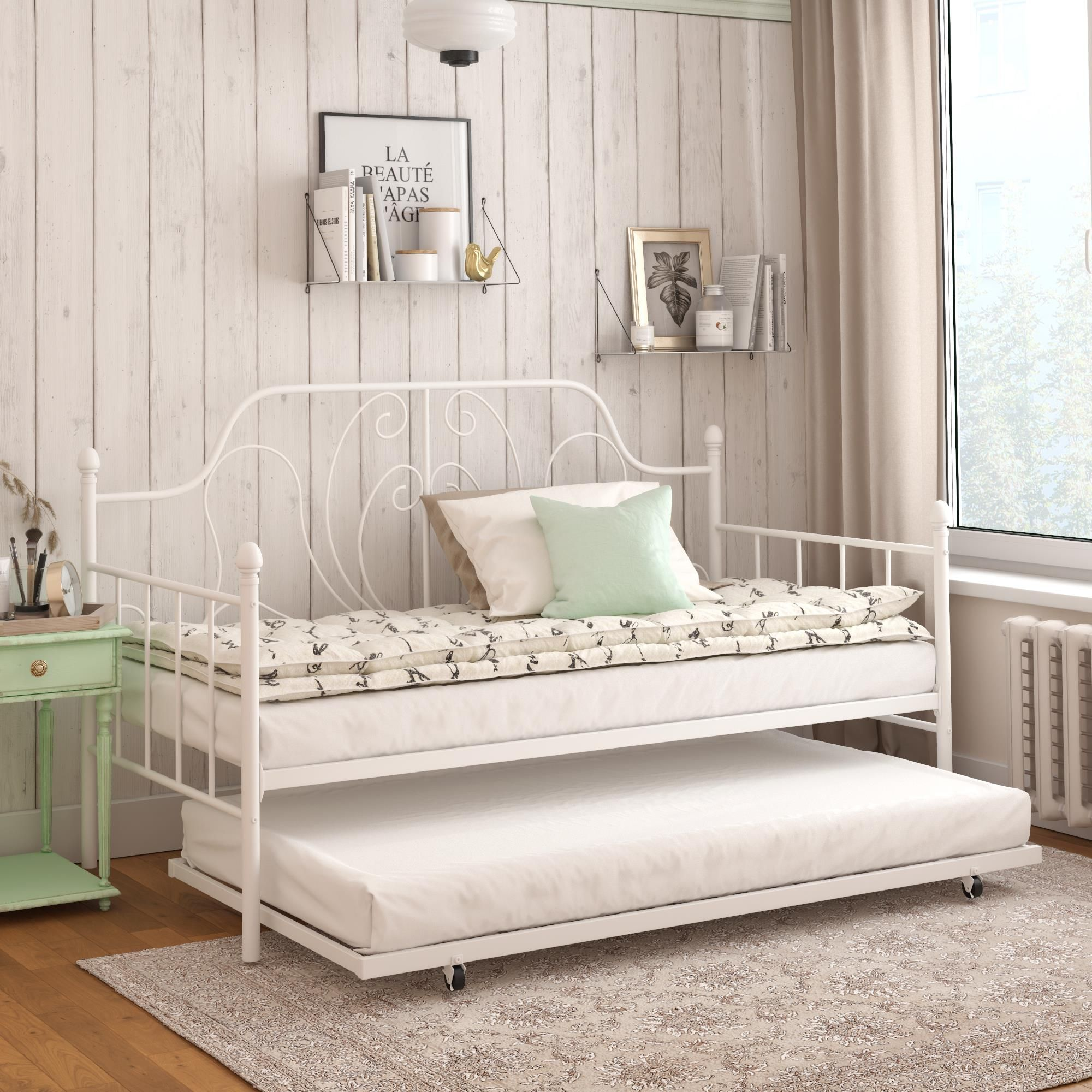 Dhp Ivorie Metal Daybed With Trundle Twin Twin Size Frame White