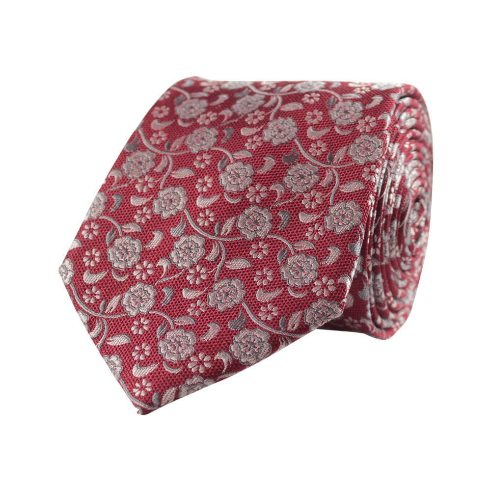 Pure silk tie with a lovely flower pattern - Red and silver