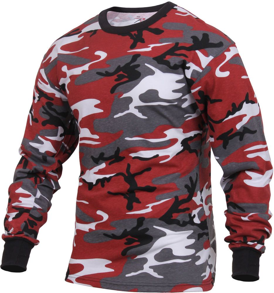 Mens Red Camouflage Long Sleeve Tactical Military T-Shirt  Rothco   LongSleeveShirt c48006a4c95