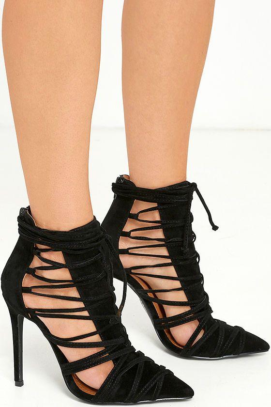 86a2a8da2fce Sexy Black Heels - Lace-Up Heels - Vegan Suede Heels -  40.00