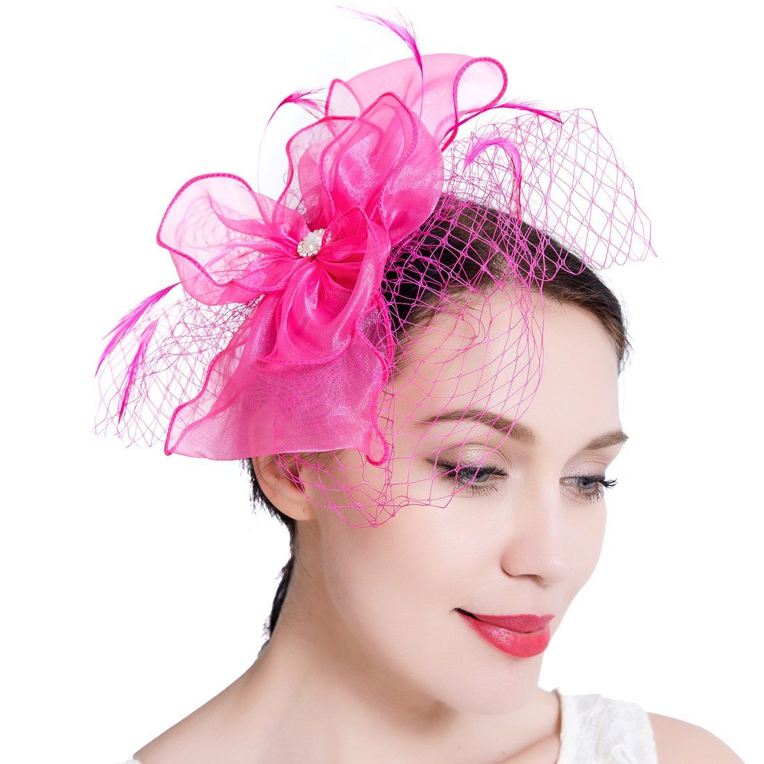 Small Ivory Wedding Mini Fascinator hat with Bow and