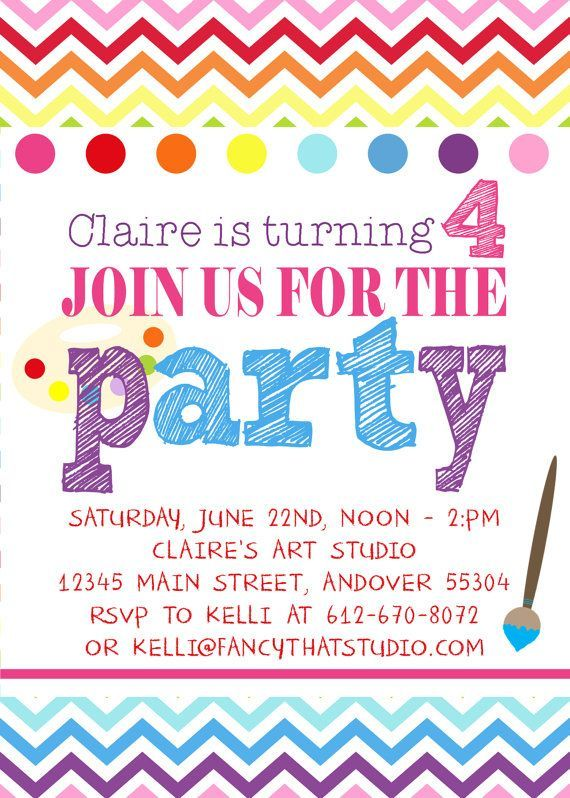 Download Now Art Themed Birthday Party Invitations Download this