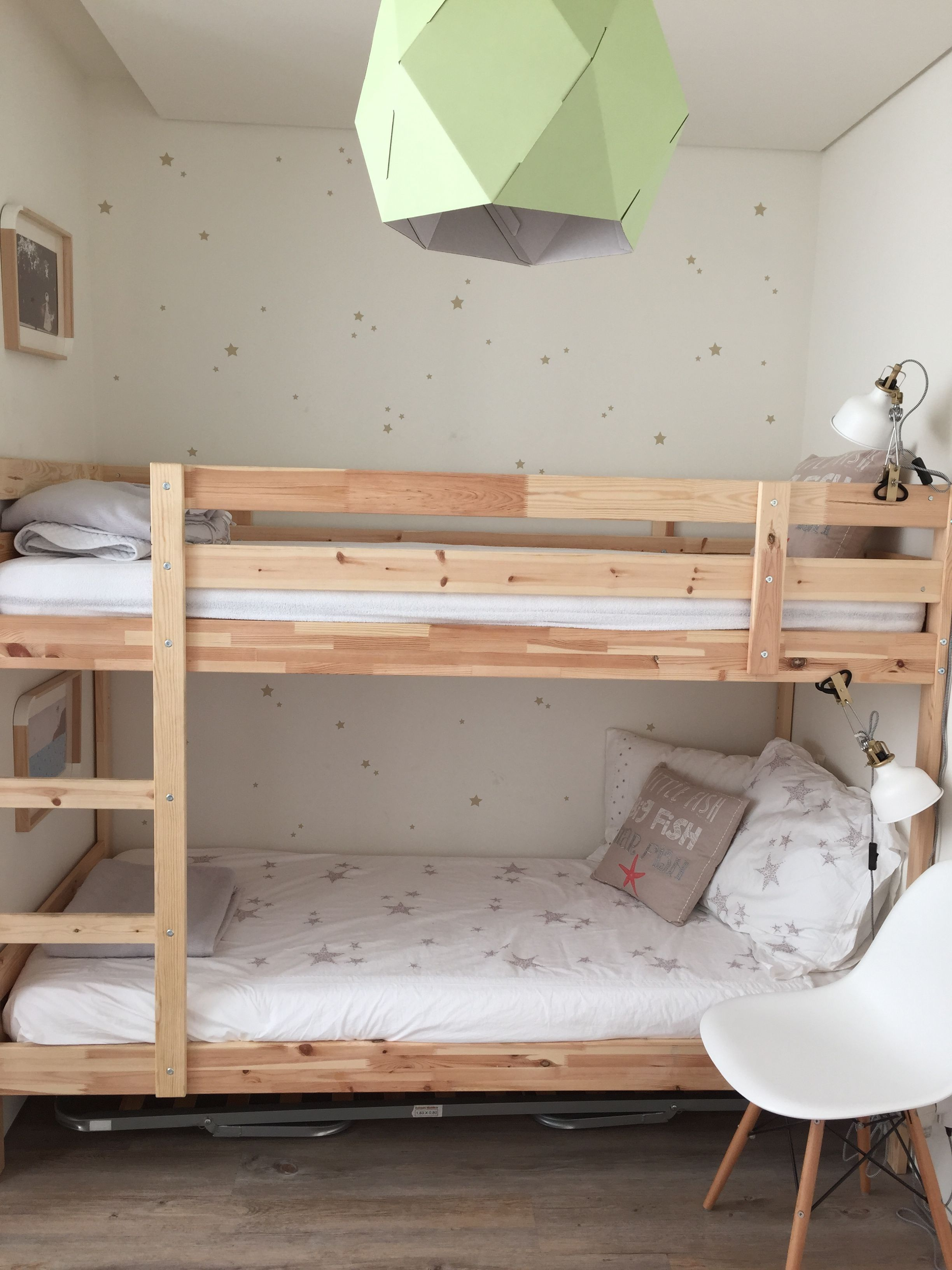 Wall Stickers Stars Bunkbed White Gold Kids Bedroom Ikea Mydal Bunk Bed Diy Beds With Storage