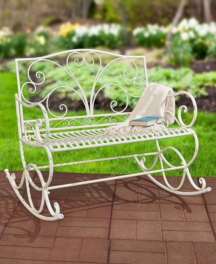 New Antique White Outdoor Metal Rocking Bench Front Back Patio