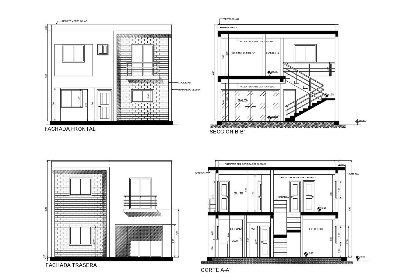 2 Storey House With Elevation And Section In Autocad Drawing Which Provides Detail Of Front Ele Two Story House Design Architectural House Plans 2 Storey House