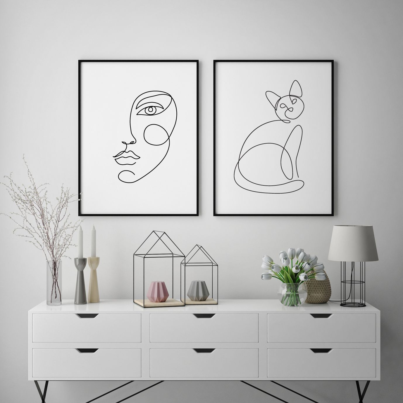 graphic about Etsy Printable Wall Art known as Girl encounter a person line drawing, Summary Very simple Minimalist Artwork