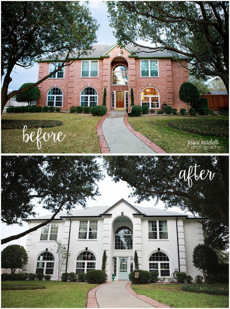 House Paint Exterior Exterior Stairs Exterior Brick: Home Reveal! White Painted Brick For The Win [Exterior Home Photography]