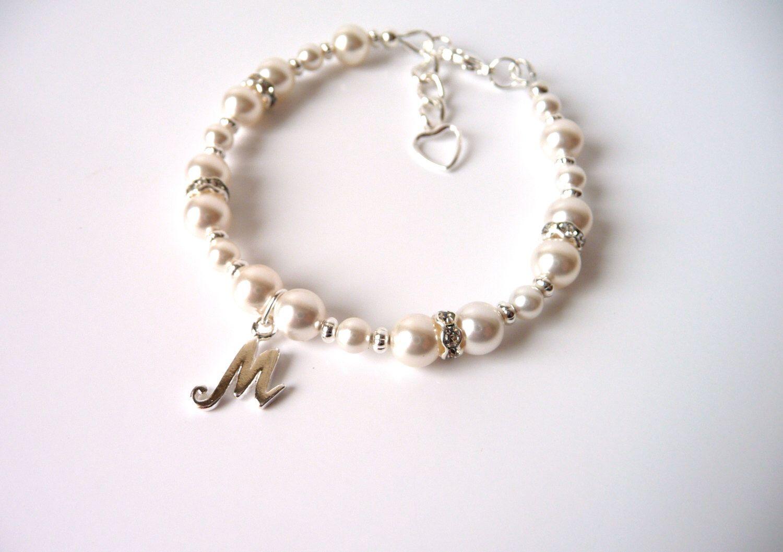 Girls Initial Bracelet, CHOOSE Letter,Girls Pearl Bracelet, Personalized Jewelry, Flower Girl Gift, Kids Pearl Bracelet, Childrens Jewelry by MelJoyCreations on Etsy https://www.etsy.com/listing/216547091/girls-initial-bracelet-choose