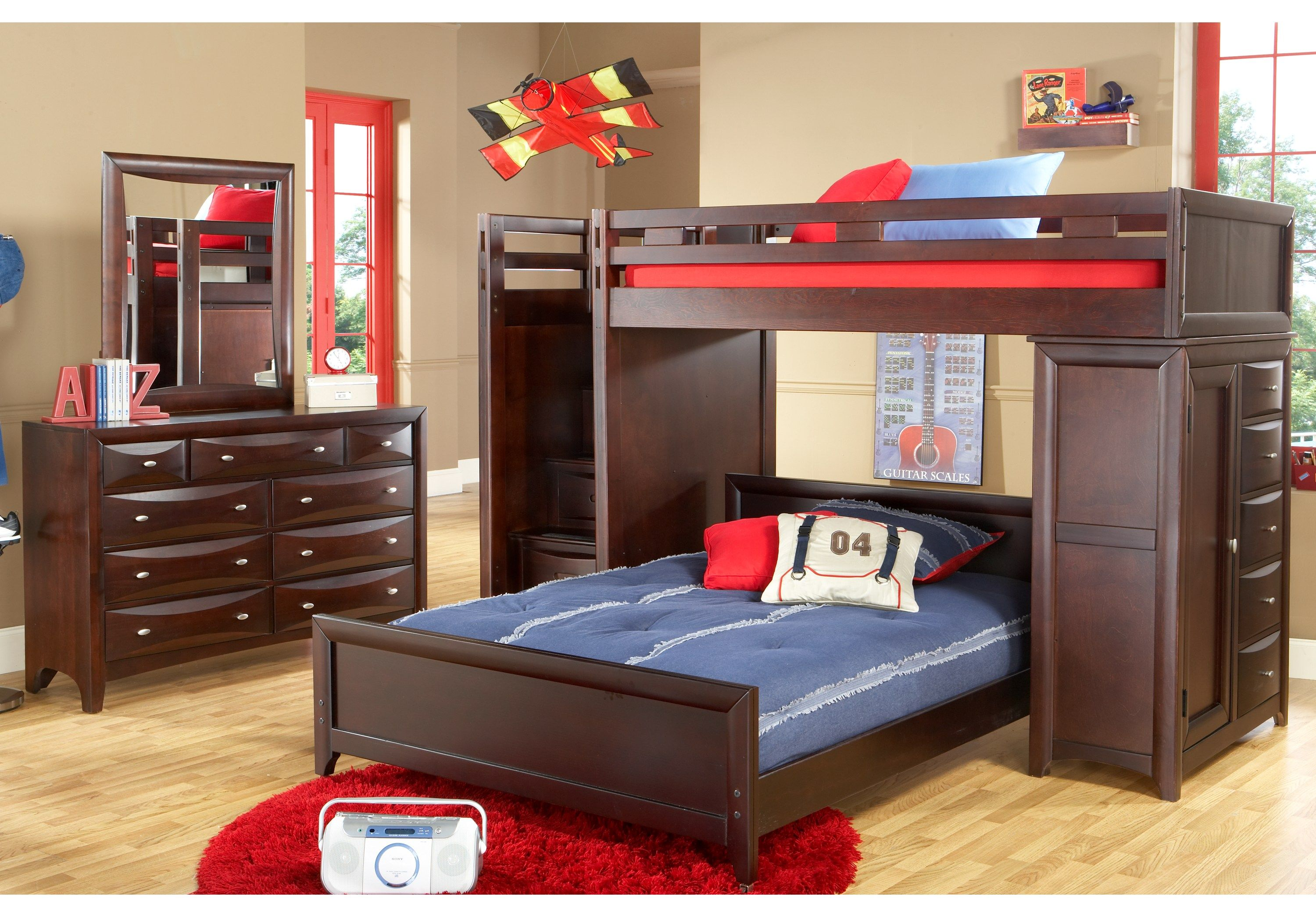 Ivy League Cherry Twin/Full Step Loft Bunk with Chest
