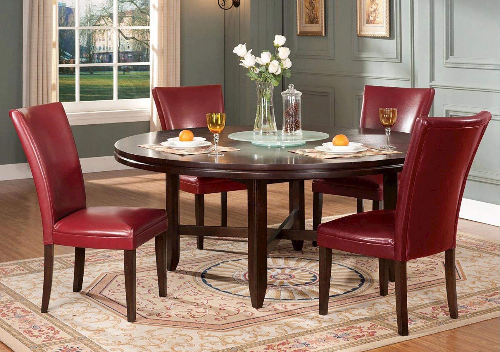 Lacks Hartford 6 Pc Red Dining Set 72 Inch Round Dining Table Contemporary Dining Table Dining Table