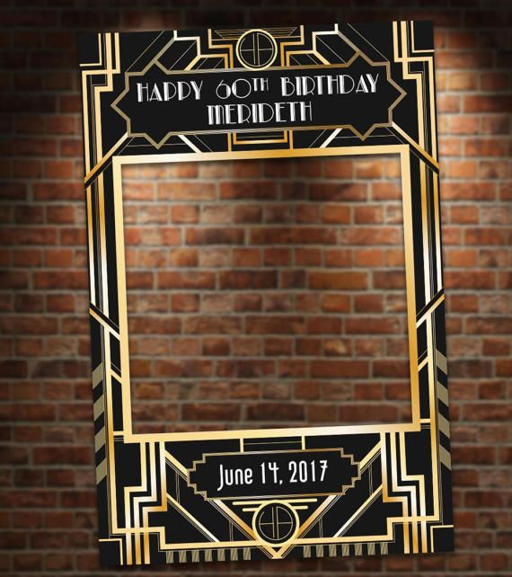 Black And Gold Art Deco Photo Booth Party Prop Frame