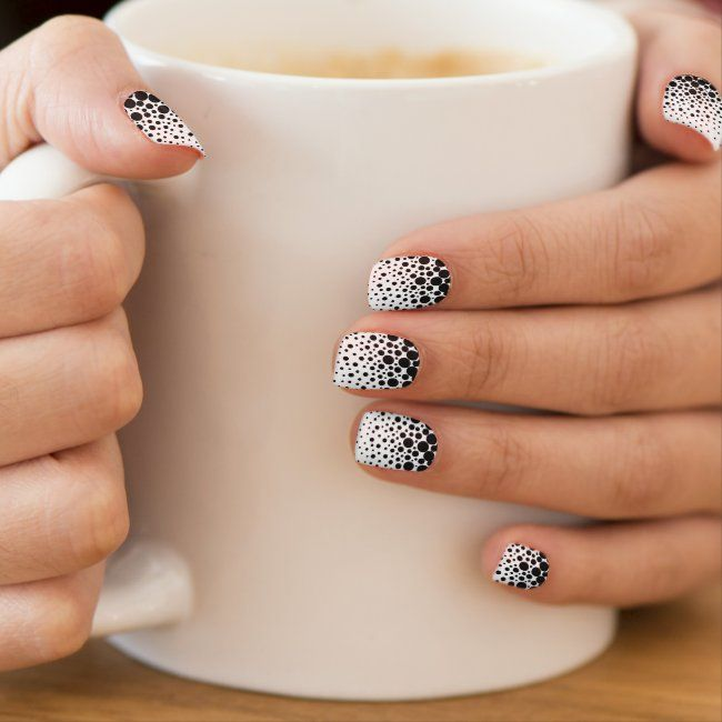 Black polka dots minx nail art | Zazzle.com