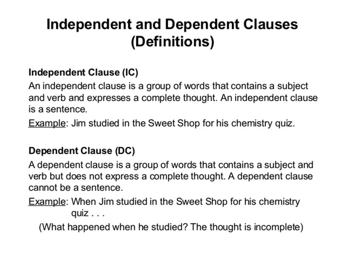 Independent and Dependent Clauses in English | English Grammar ...