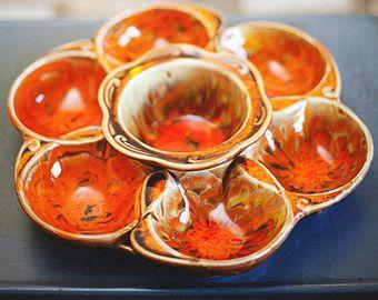 vintage orange and black serving pieces Vintage