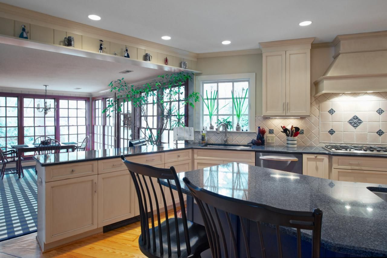 White Cabinets Dark Stained Island Kitchen #Kitchen Like the two ...