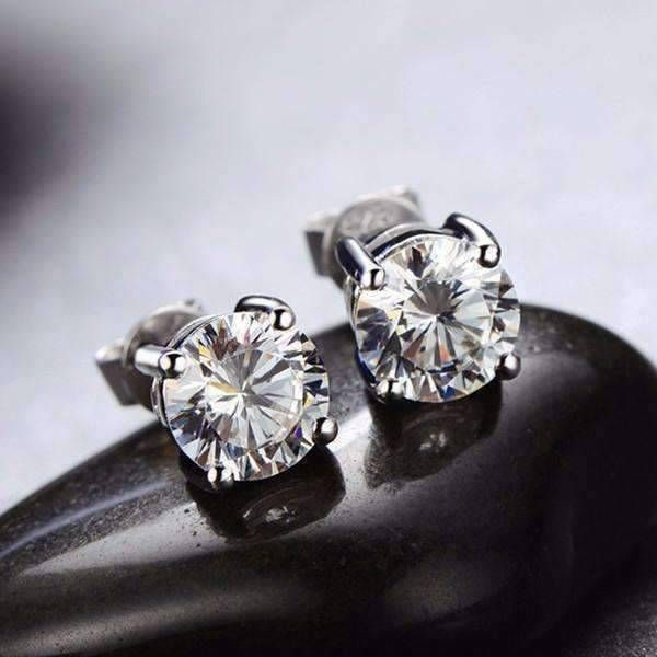 Once Round Iobi Cultured Diamond Solitaire Stud Earrings