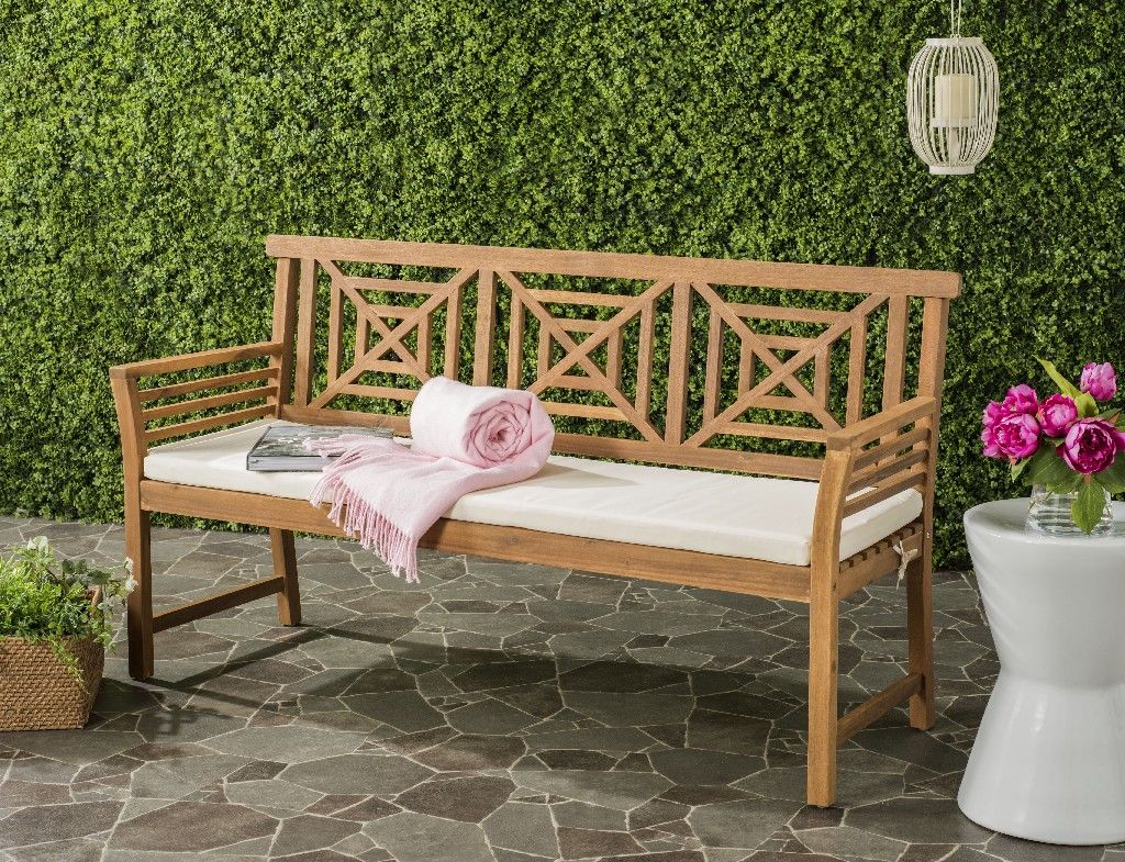Del Mar 3 Seat Bench In Natural Beige Safavieh Pat6737a Wooden Garden Benches Beige Cushions Buy Outdoor Furniture