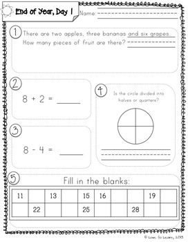 photograph about First Grade Common Core Standards Printable referred to as Each day Math 5 (Close of Yr Examine) To start with Quality Math Day-to-day