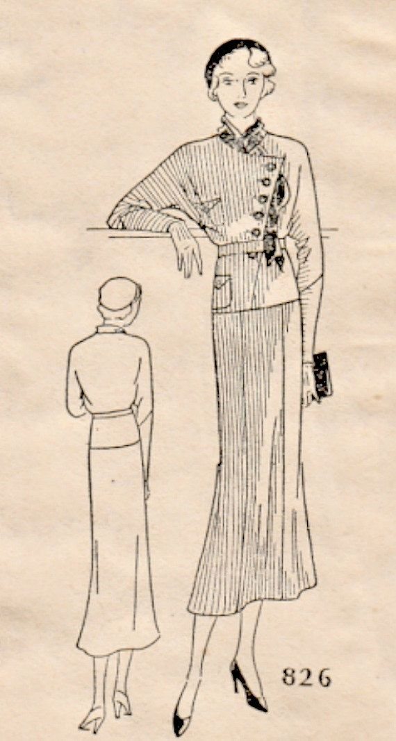 Vintage 30\'s Art Deco Style Two Piece Suit Dress Sewing Pattern Mail ...