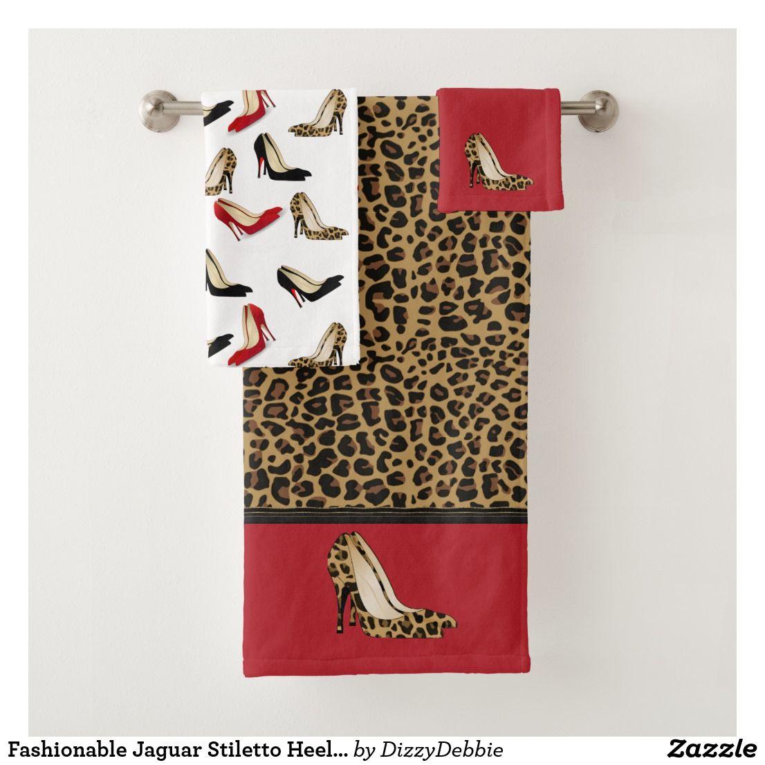 Fashionable Jaguar Stiletto Heels Bath Towel Set Lady S Chic Bath