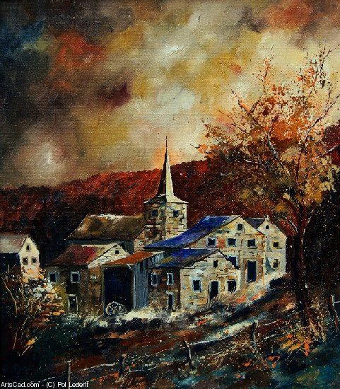 Artwork >> Pol Ledent >> ardennes village 78 #artwork, #masterpiece, #painting, #contemporary, #art, #village