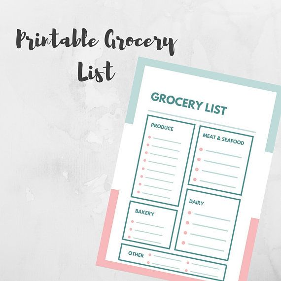 Printable Grocery List, Grocery List with Categories, Printable PDF - printable shopping list with categories