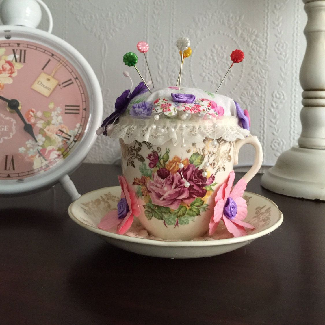 Vintage Style Tea Cup Pincushion by JanesButtonsandBows on Etsy