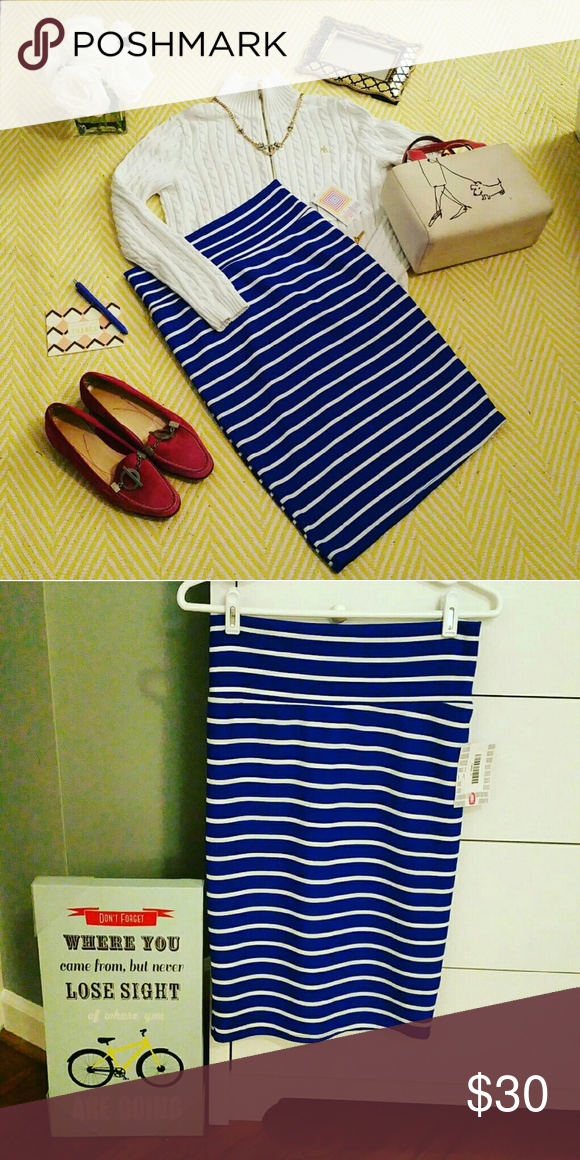 NWT LuLaRoe Striped White & Blue Cassie Skirt SM New With Tags still on it. It's unfortunately not my size. Cassie is a very professional stretchy pencil skirt yet it is extremely breathable and comfortable. And you can wear for hours at the office.   LuLaRoe is a beyond extremely comfortable clothing line. LuLaRoe Skirts Pencil