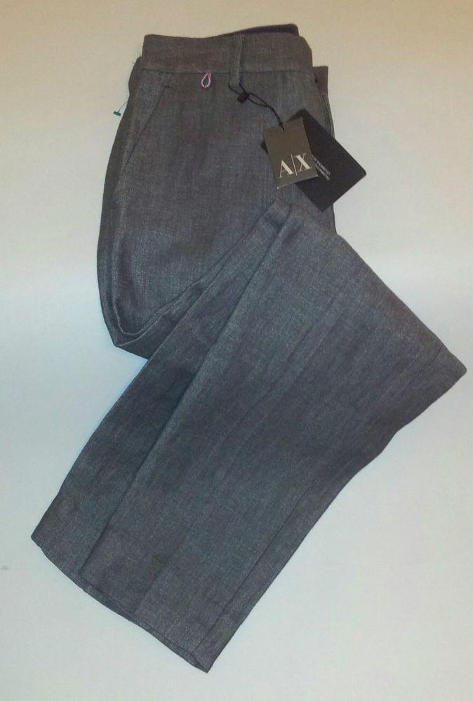 A/X Armani Exchange Skinny Leg Trousers/Pants Gray Cotton/Linen Size 6 #AXArmaniExchange #SkinntLeg SOLD