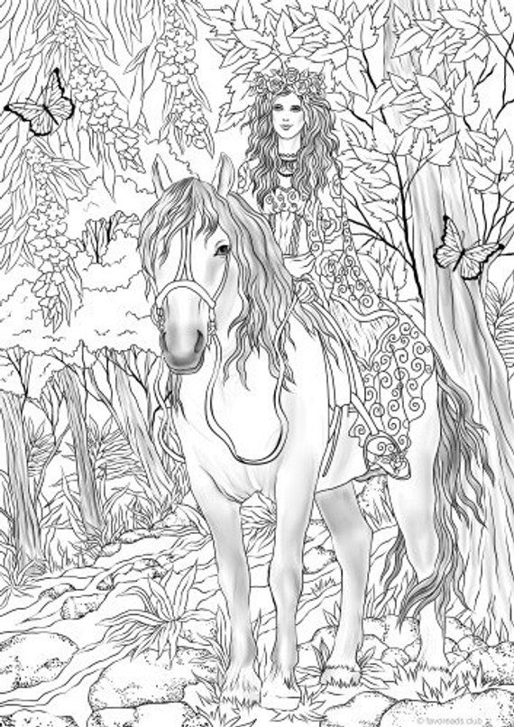 Fairy on a Horse - Printable Adult Coloring Page from ...