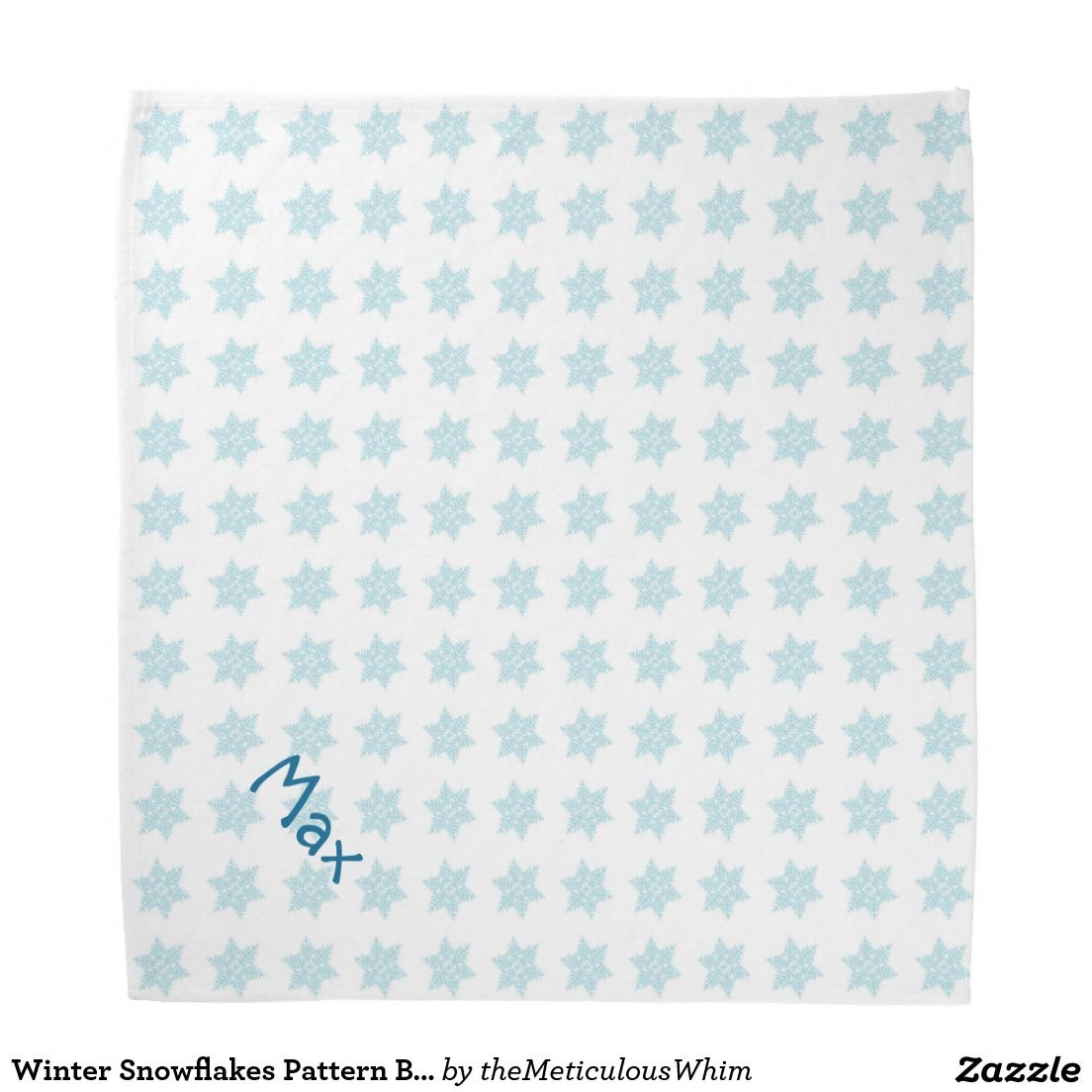 Winter Snowflakes Pattern Blue Holiday Pet Name Bandana