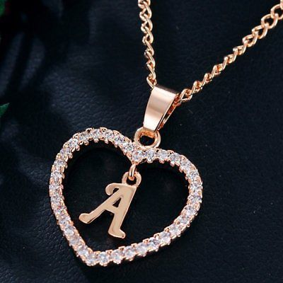 333d4b0f0ec8 Mujeres Rosa Dorado Cristal inicial de 26 Letras A-Z Alfabeto Corazón Colgante  Collar