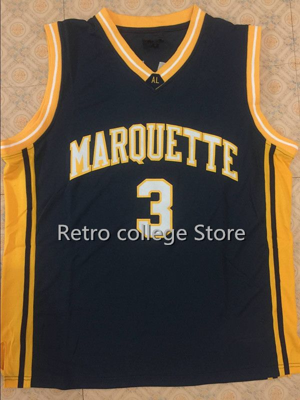 1c460f9898a  3 DWYANE WADE Marquette University Navy Blue White Basketball Jersey  Embroidery Stitched Personalized Retro throwback College