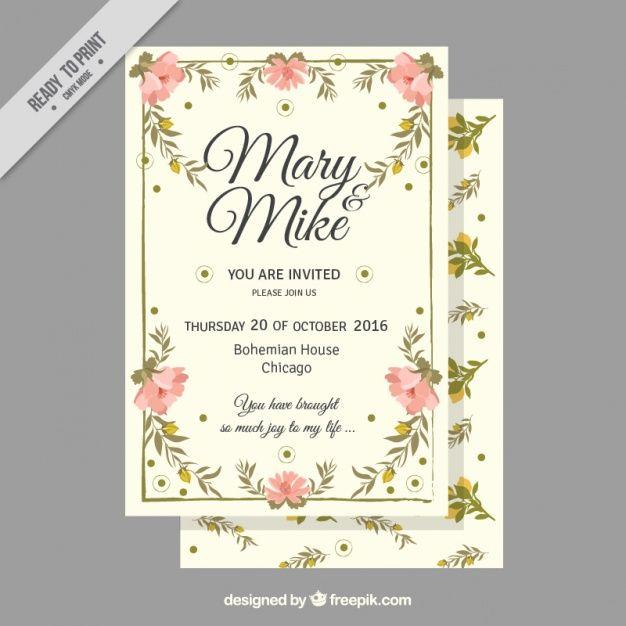 tarjeta de boda con flores en estilo vintage vector gratis