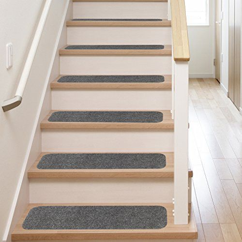 13 Carpet Stair Treads With Adhesive Back Grey Wood Stair   Rubber Backed Carpet Stair Treads   Slip Resistant Rubber   Ultra Thin   Wood   Ottomanson   Beige