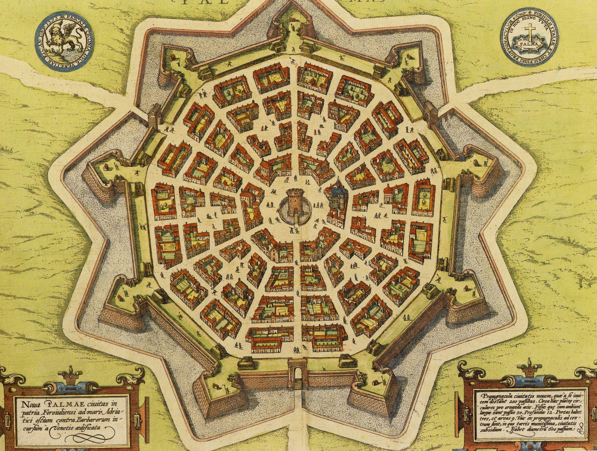 Palmanova Star Fort City Old Maps
