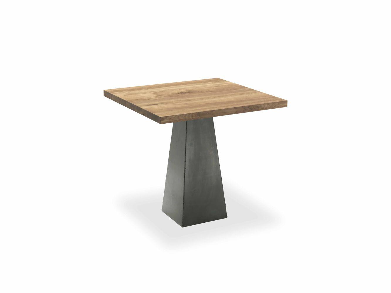 Tavolo quadrato realizzato con top in legno massello a liste incollate con gamba centrale in - Tavolo quadrato gamba centrale ...