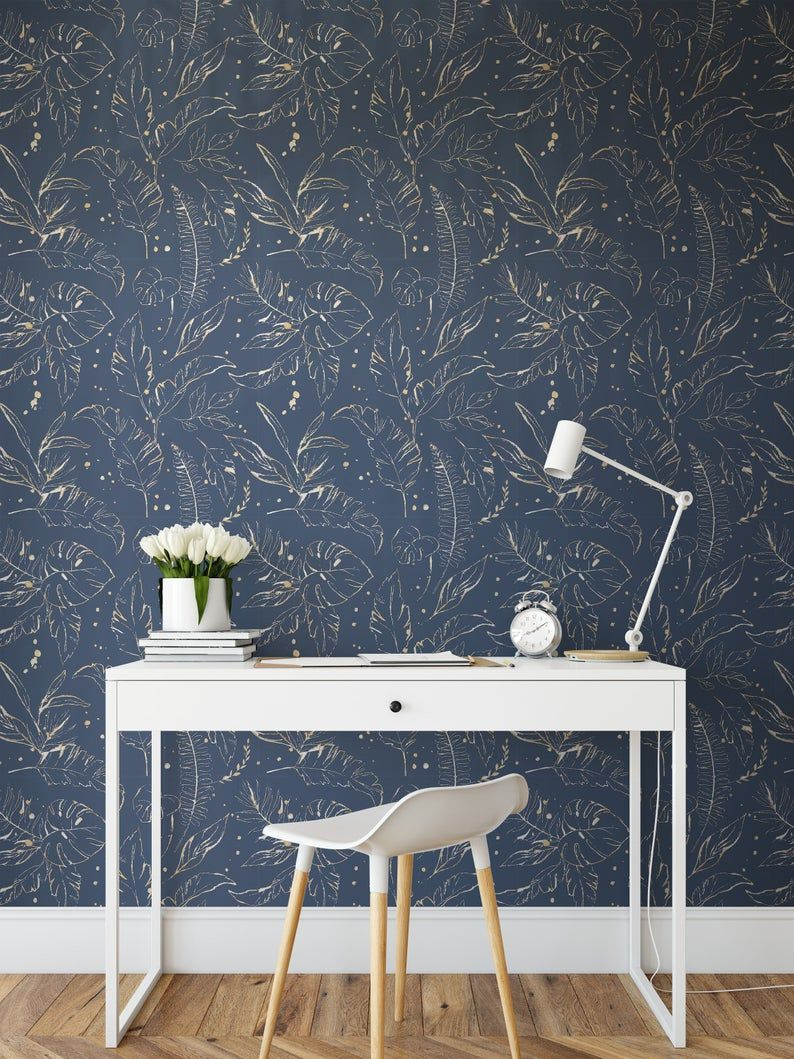 Peel And Stick Wallpaper Tile Blue Floral Self Adhesive Wallpaper