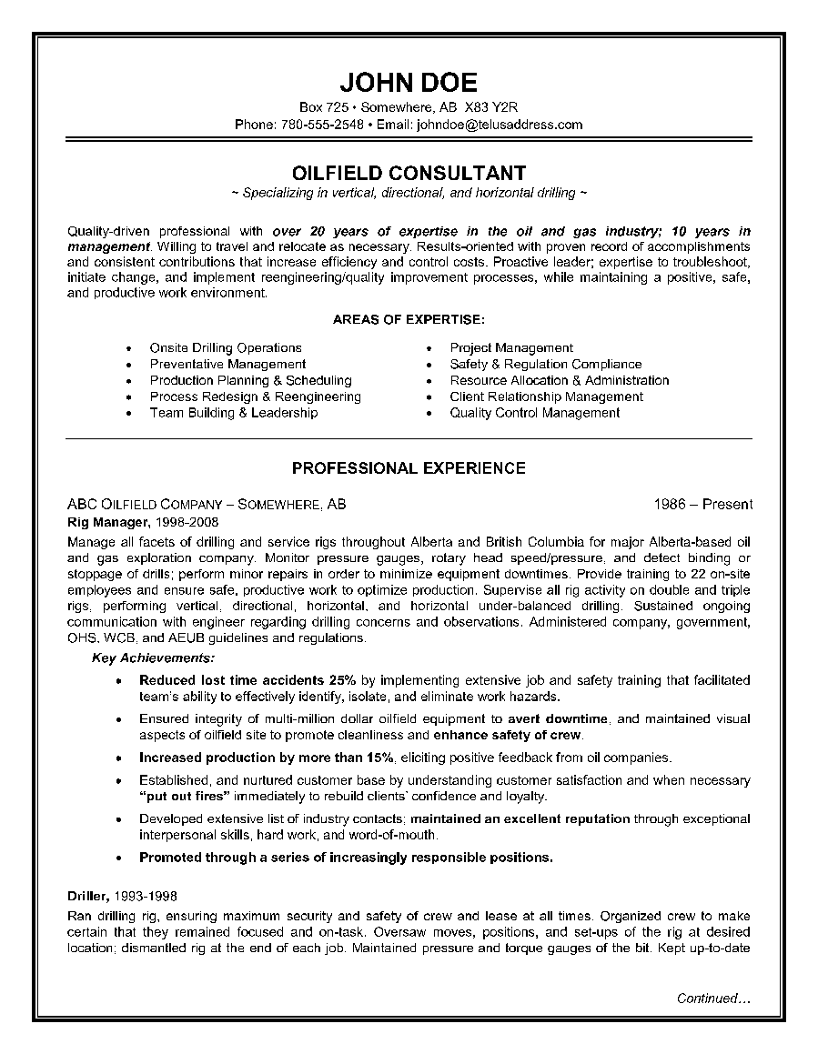 Example Of A Oilfield Consultant Resume Sample Resume Pinterest