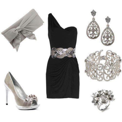 Color de zapatos para vestido negro con plata