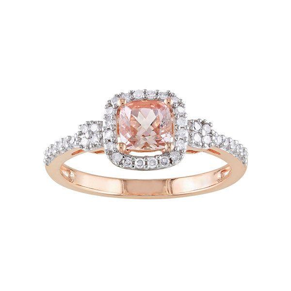 10K Rose Gold Cushion Cut Pink Morganite Diamond Ring   JCPenney