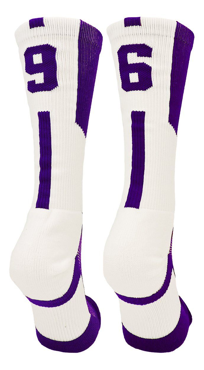 Player Id Purple/White Number Crew Socks (Pair)