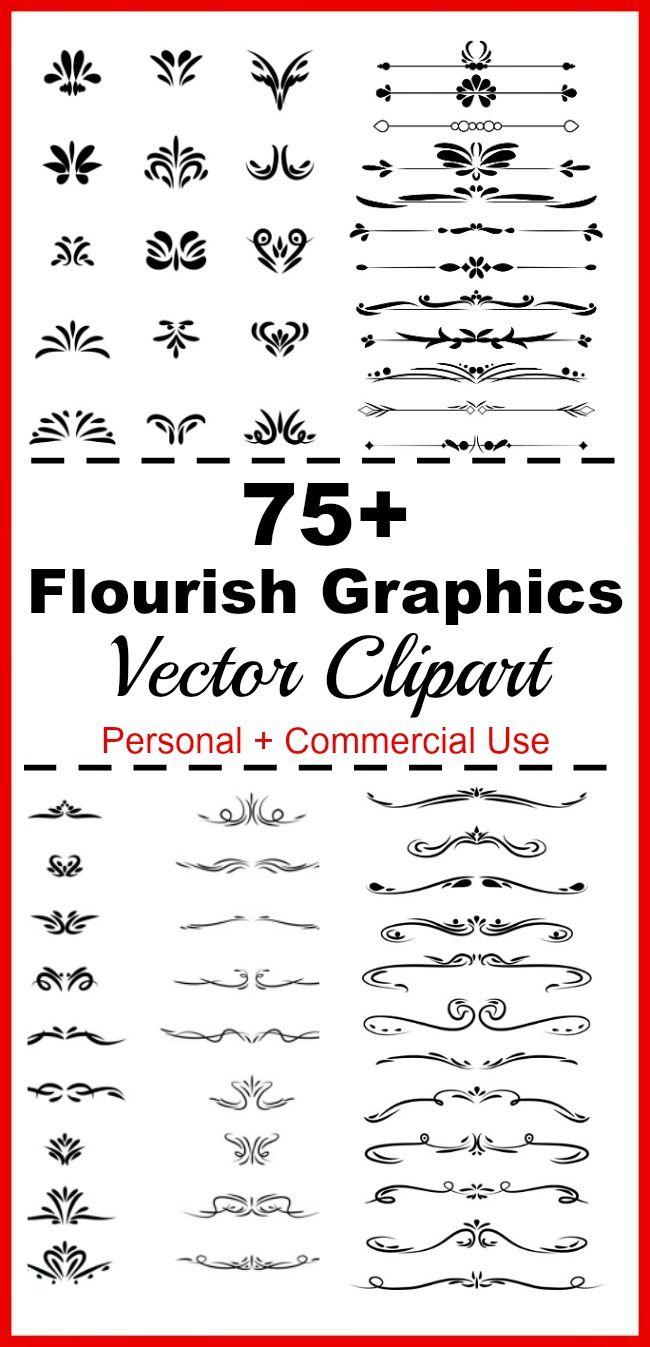 Flourish clipart flourishes mega pack digital dividers wedding