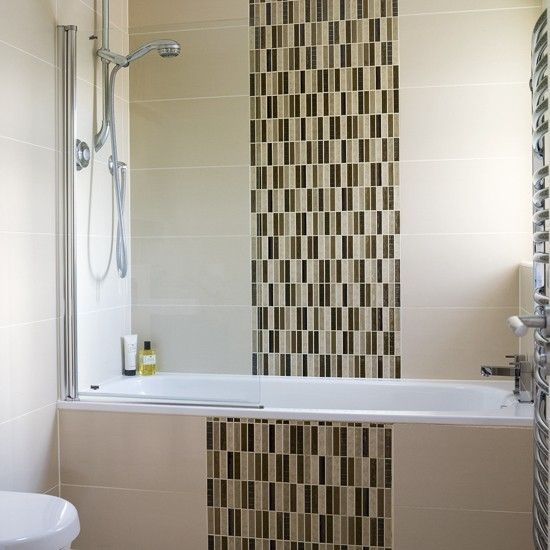 Neutral Bathroom With Distinctive Tiles   Band Of Mosaic Tiles Part 20