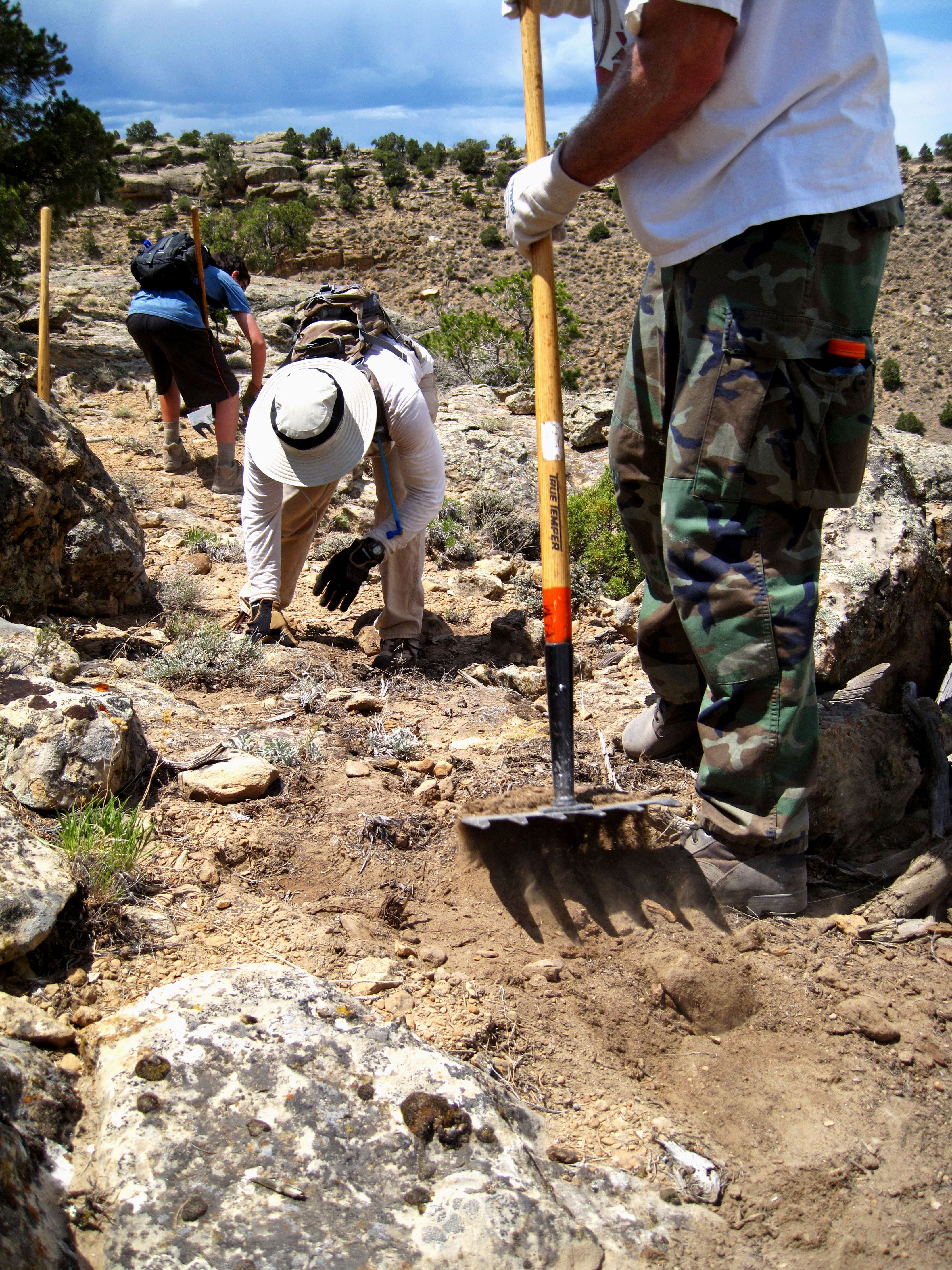 Building new trail with copmoba on the palisade rim trail