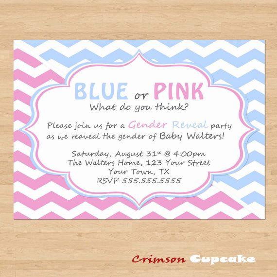printable gender reveal party invitation diy by crimsoncupcake 1099 - Free Printable Gender Reveal Party Invitations