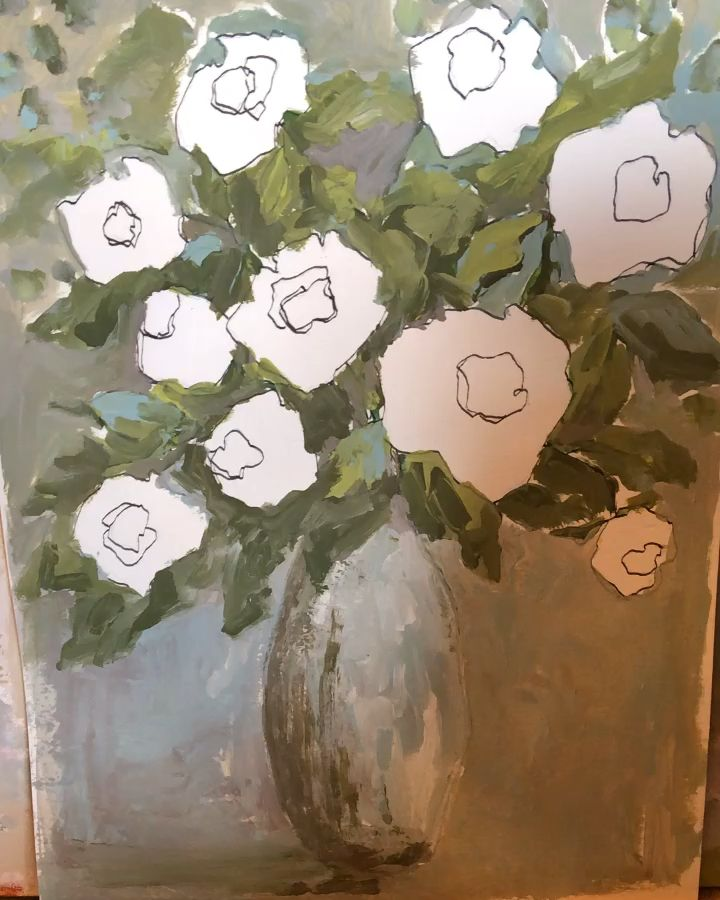 Showing part of my process painting white roses with acrylic on paper. #homedecor #paintingvideos #whiteroses #rosepainting #floralpainting #processvideo #artforthehome #modernfarmhousedecor #modernfarmhouse